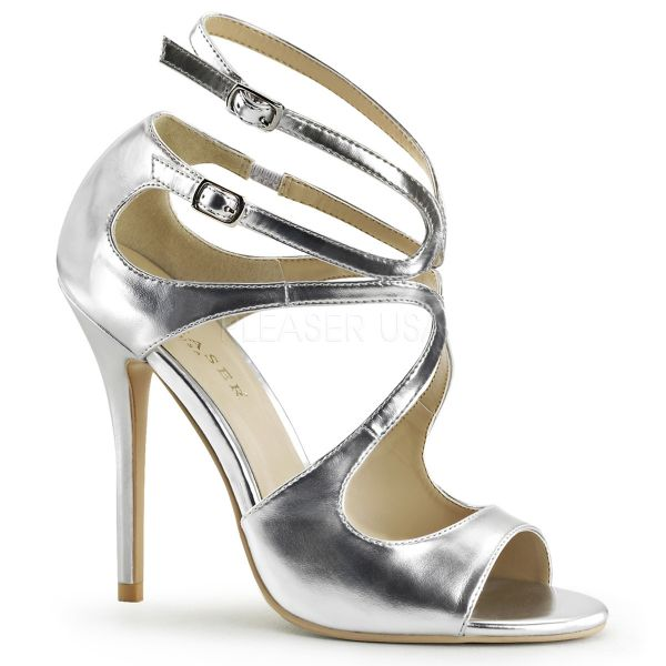 AMUSE-15 High-Heel Sandalette mit Riemchen in silber Kunstleder
